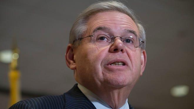 U.S. Sen. Bob Menendez, D-N.J., at his news conference in Newark last Friday. (AP Photo/John Minchillo)