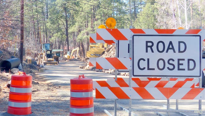 Main Road is closed while work proceeds on Bridge #1.