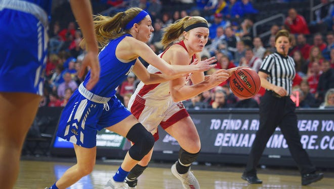 USD's Monica Arens goes against Fort Wayne's Hannah Hess during the Summit League basketball tournament Saturday, March 3, at the Denny Sanford Premiere Center in Sioux Falls.