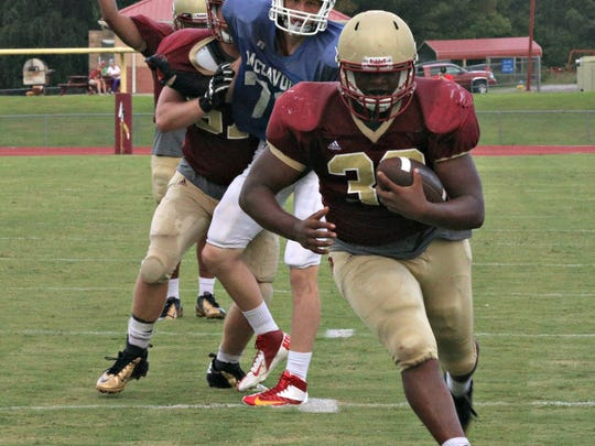 Riverdale's Marques Locke rambles into the end zone during a recent scrimmage