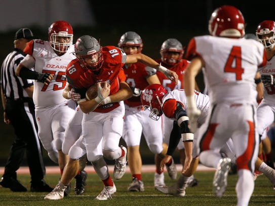 Nixa's Alex Allen carries the ball during a game against
