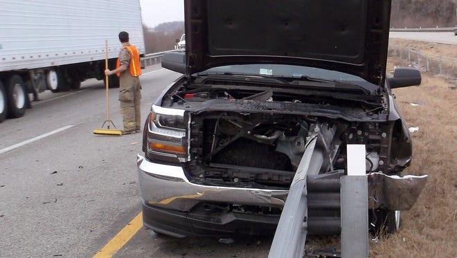 Cincinnati native George Jansen struck a guardrail end in February in Missouri.