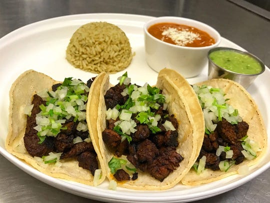 Traditional steak tacos, Leon Mexican Cuisine