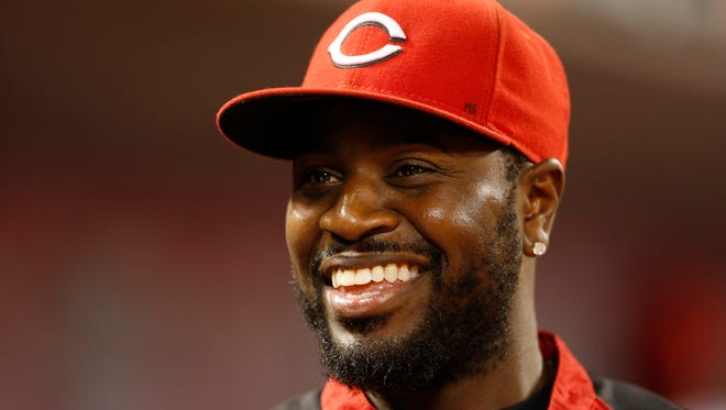 Reds second baseman Brandon Phillips in the dugout during the Reds' game against the Miami Marlins at Great American Ball Park on Aug. 8.