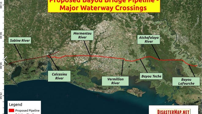 The major waterway crossings of the proposed Bayou Bridge Pipeline route
