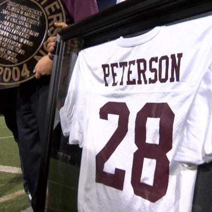 "Peterson runs camps in Palestine for young athletes with an eye toward helping underprivileged children. In return the city has gone as far as establishing an ""Adrian Peterson Day."""