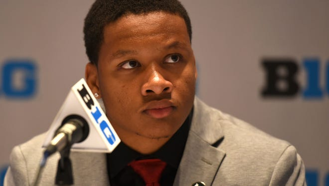 Michigan State running back Gerald Holmes speaks at Big Ten media days in Chicago, Monday, July 24, 2017.