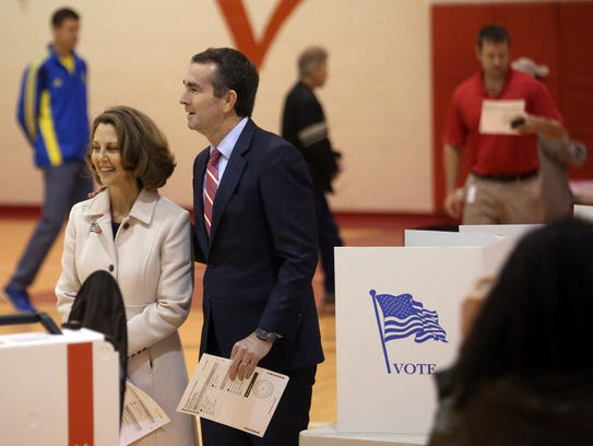 Democrat Ralph Northam, and his wife Pam on Election