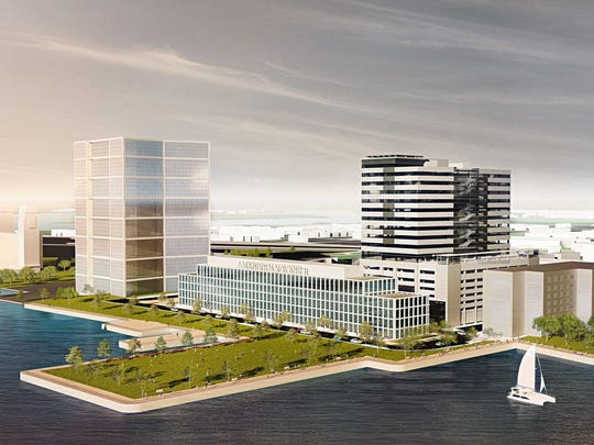 Three South Jersey firms are seeking tax breaks for a planned tower on Camden's Waterfront.