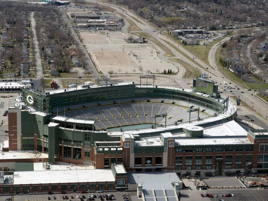 An aerial view of Lambeau Field on April 15, 2015.
