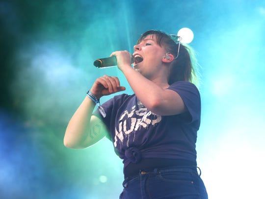 Sylvan Esso's Amelia Meath performs during the Innings