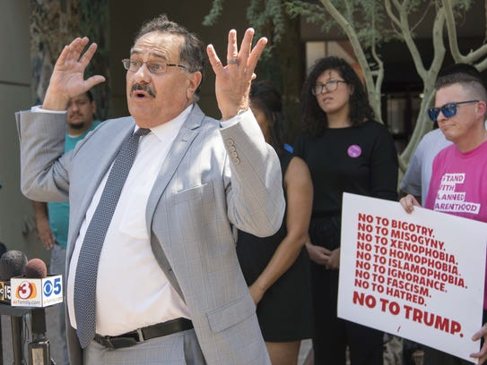 Antonio D. Bustamante speaks during a press conference