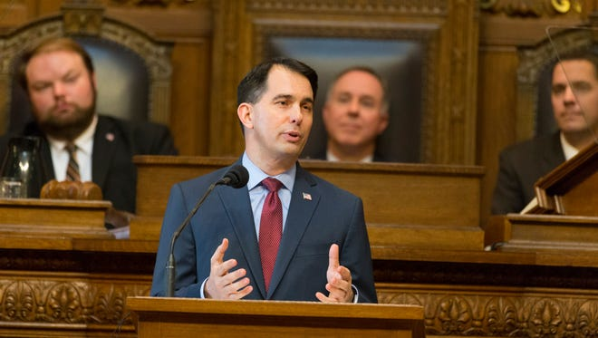 Gov. Scott Walker delivers his budget address Feb. 8 at the Capitol in Madison.