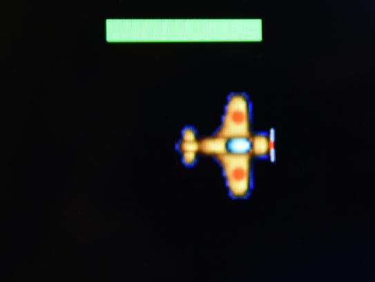 A detail of Jonah Gahagan's video game, Plane Wars.