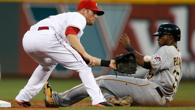 Pirates right fielder Gregory Polanco slides safely into second base with a steal as Reds shortstop Zack Cozart takes the throw on July 12. (Polanco has since been demoted.)