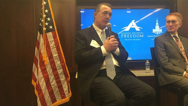 "Rep. Trent Franks, R-Glendale, is optimistic about the chances for his ""born-alive"" abortion bill, which has failed twice but now faces a GOP Congress and White House. With him is Sen. James Lankford, R-Oklahoma."