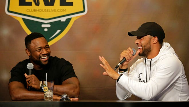 Green Bay Packers wide receiver Ty Montgomery (left) co-hosted Monday's Clubhouse Live in Appleton. Safety Micah Hyde was Montgomery's guest. Watch a replay on clubhouselive.com.