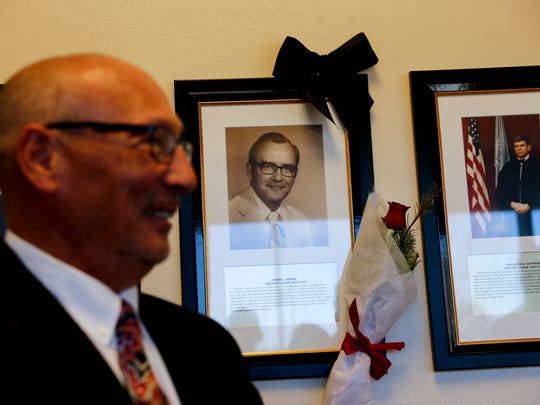 Michael Brown talks about his father Judge James L. Brown during a ceremony on Tuesday at Aztec District Court.
