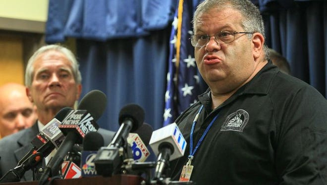 Scott Stoller, Anderson County EMS & Special Operations Director, speaks during press conference at the Anderson County Emergency Operations Center in Anderson, South Carolina on September 28, 2016. He was one of several officials who gave an update about the shootings at Townville Elementary School.
