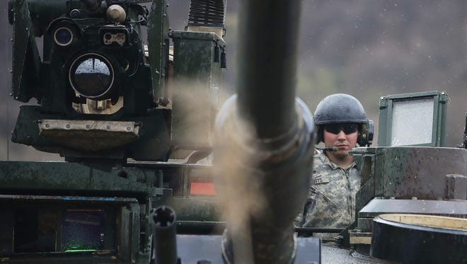 U.S. soldiers prepare for a military exercise near the border between South and North Korea on April 14, 2017 in Paju, South Korea. The tension around North Korea is high ahead of a major North Korean holiday -  the birthday of its founding dictator Kim Il Sung on April 15.