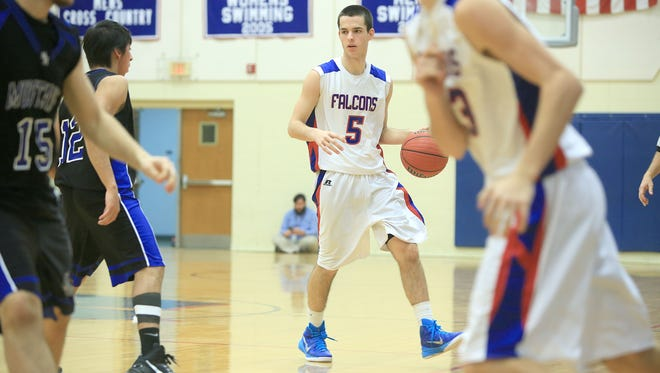 Dylan Buchanan (5) and West Henderson are part of the NCHSAA 3-A boys basketball playoffs.