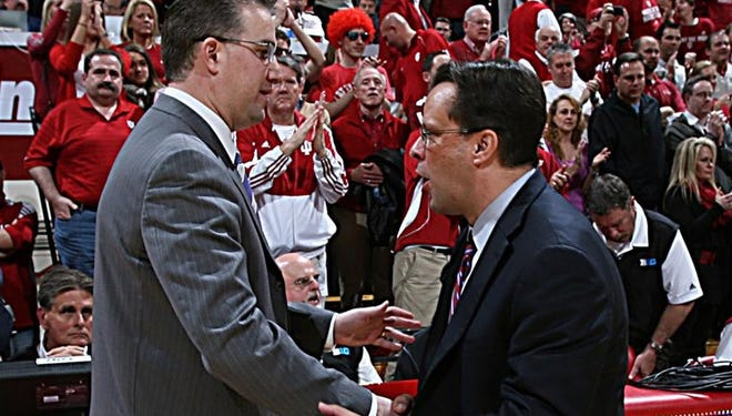 Indiana coach Tom Crean and Purdue's Matt Painter shake hands after the Hoosiers beat the Boilermakers 85-74 two years ago in Bloomington.