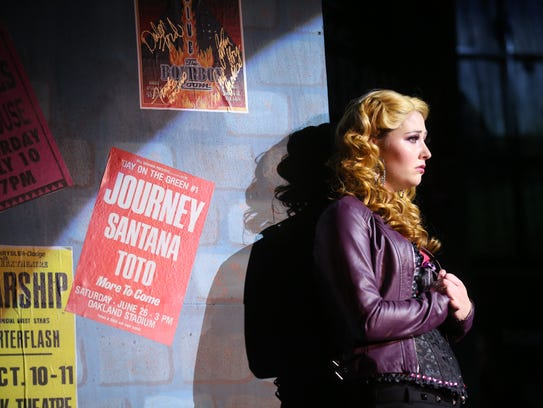 "Erin Tawney as Sherrie in ""Rock of Ages."""