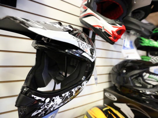 Helmets and other motorcycle gear are popular in the