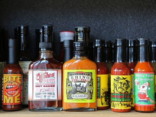 A variety of hot sauces for sale at Pik Nik barbecue