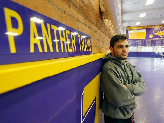 Bryce Steiert photographed during Northern Iowa wrestling