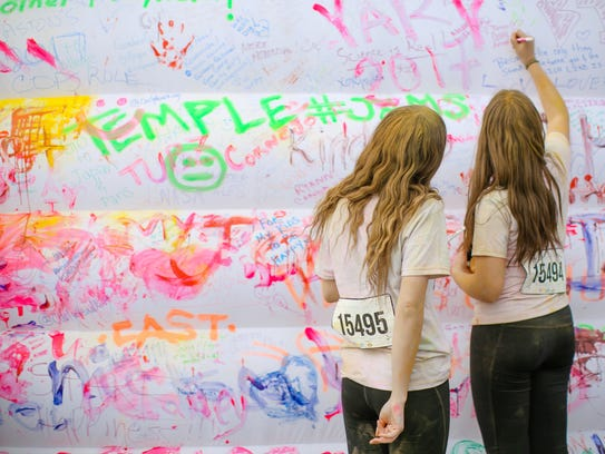 The end of The Color Run features a dream wall where