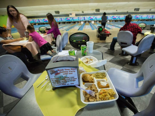 10 Pin Alley hosted a free Thanksgiving Day meal and bowling for the second year in a row on Thursday Nov. 23, 2017.