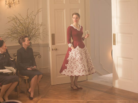 Lesley Manville, seated left, and Vicky Krieps in a