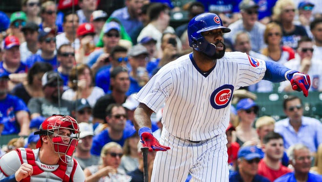 Jason Heyward's slugging percentage is still just .398 - up from .325 last season - but with eight home runs, he's already exceeded his 2016 total.