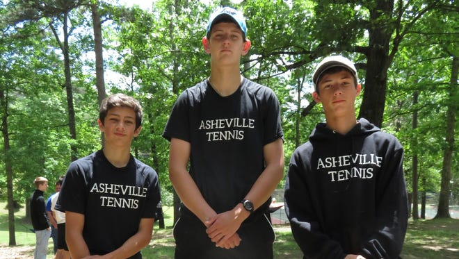 From left to right, Asheville High tennis players Henry Kelso, Meadle Olson and Zach Theodossiou.