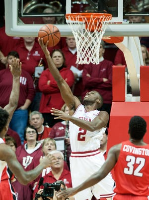 Indiana guard Josh Newkirk (2) scores against the Youngstown State during the first half of an NCAA college basketball game in Bloomington, Ind., Friday, Dec. 29, 2017.