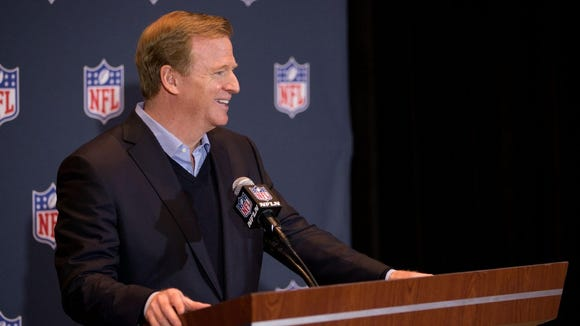 Mar 26, 2014; Orlando, FL, USA; NFL Commissioner Roger Goodell speaks during a press conference at the NFL Annual Meetings.