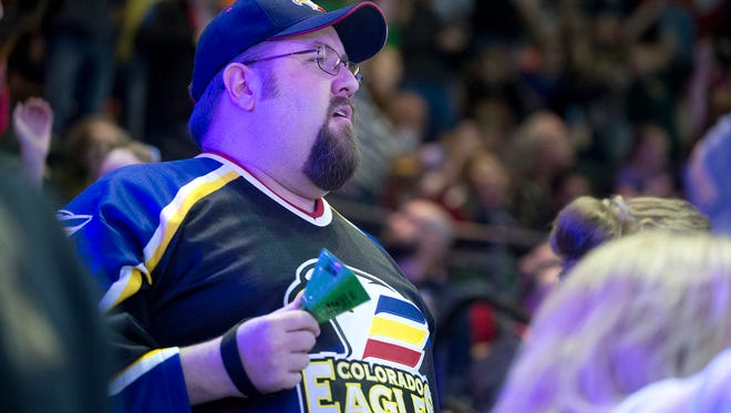 Fans show their support for the Eagles during game 4 of the playoff series against the Idaho Steelheads at the Budweiser Events Center in Loveland Thursday, April 24, 2014. Idaho beat Colorado 4-3 and the series is now tied 2-2.