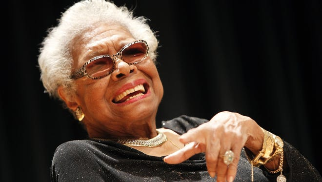 Maya Angelou answers questions at her portrait unveiling at the Smithsonian's National Portrait Gallery on Saturday, April 5 in Washington, DC.