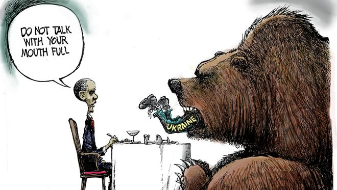 Steve Benson takes a look at the escalating tensions in the Ukraine, with Russians knocking on the door.