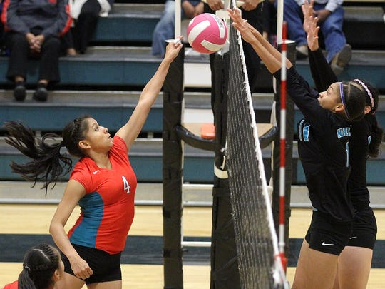 Navajo Prep's Martinique Larvingo, right, blocks Shiprock's