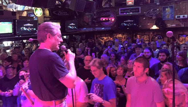 Max Weinberg address the crowd at Bar Anticipation in Lake Como Thursday, Aug. 13.
