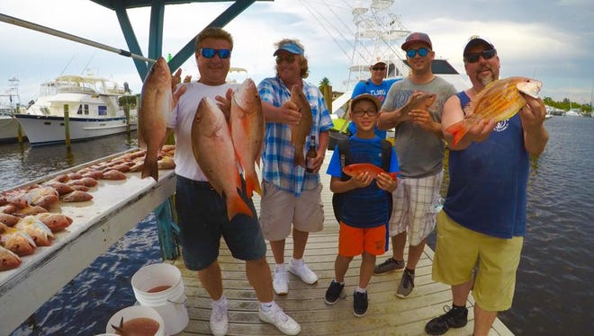 Snapper hunting success was enjoyed by these anglers on the Safari 1 party boat out of Pirates Cove Resort in Port Salerno.
