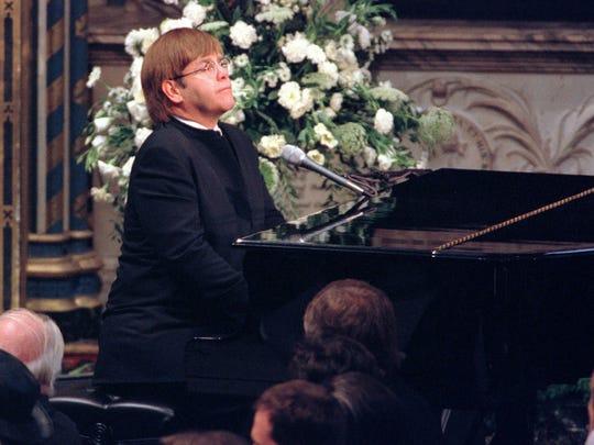 Elton John plays a specially re-written version of