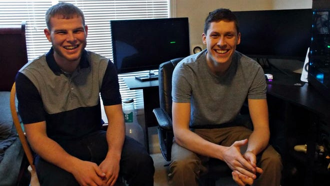 Harper Creek High School graduate Chase Dittmer (left) is the founder of Growpo, software designed to help businesses with importing and exporting needs. He founded the company in January and brought on friend and fellow Harper Creek grad, TJ Dishaw, in April to lead the tech side of the business.