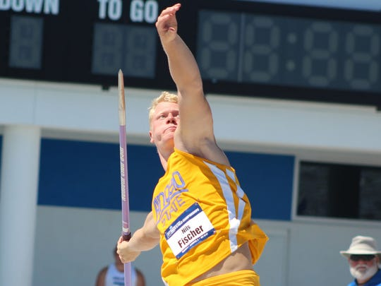 Angelo State's Nils Fischer competes Saturday, May 27, in the men's javelin throw at the NCAA Division II Track and Field Championships at IMG Academy in Bradenton, Florida.