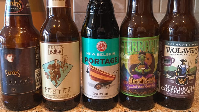 A collection of porters, from left, Founders Porter, Bell's Porter, New Belgium Portage, Terrapin Liquid Bliss Chocolate Peanut Butter Porter and Wolaver's Alta Gracia Coffee Porter.