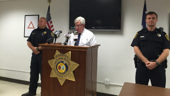 Greenville County Sheriff Steve Loftis briefs the media on a police shooting that left one dead on Oct. 11, 2015.