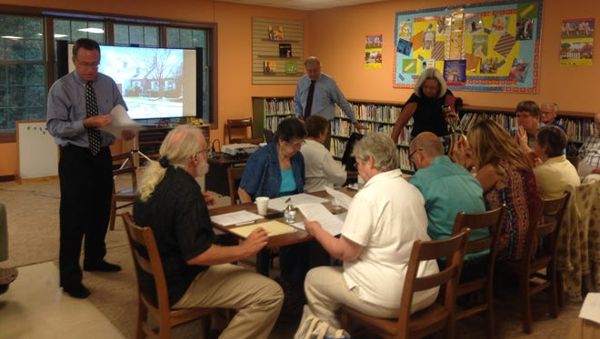 The Eastern Shore Public Library Board of Trustees Building Committee discusses options for a new main library at a meeting on Thursday, Sept. 24, 2015.