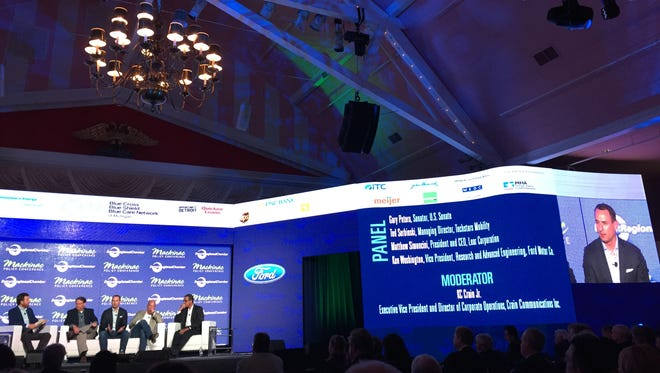 A panel on automotive technology on Wednesday, the first day of the Mackinac Policy Conference.